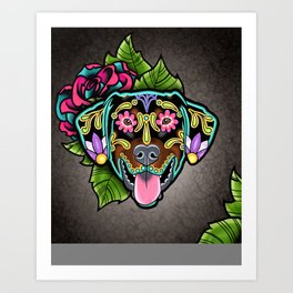 Doberman with Floppy Ears - Day of the Dead Sugar Skull Dog Art Print
