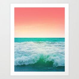 Aqua and Coral, 3 Art Print