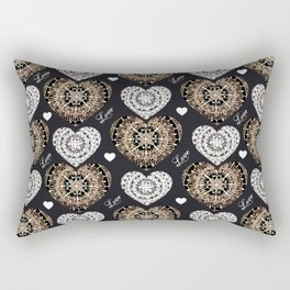 Rose-Gold, Silver, and Black Mandala Hearts with Love Rectangular Pillow