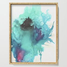 Blue Splash Abstract Watercolor Art Serving Tray