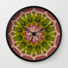 Hot Pink Green Energy Mandala Wall Clock