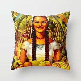 Vintage Bountiful Mexico Travel Throw Pillow