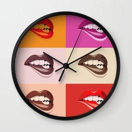 Pop Art Colourful Lips Wall Clock