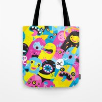 monsters Tote Bags featuring Monsters by Lienke Raben