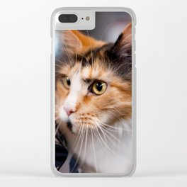Red hair cat head portrait Clear iPhone Case