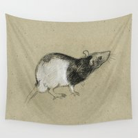 rat Wall Tapestries featuring Rat by Freeminds