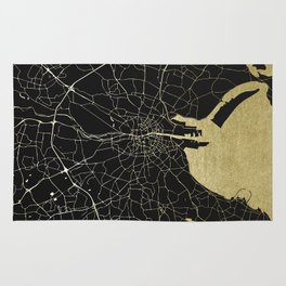 Dublin Ireland Black on Gold Street Map Rug