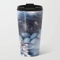 Nest of thrush with blue eggs Metal Travel Mug