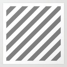 Diagonal Stripes (Gray/White) Art Print