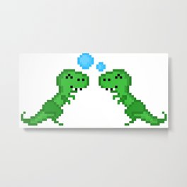 Dino Bubbles Metal Print