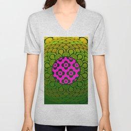 3D Abstract Geometric Motif Pink & Green Unisex V-Neck