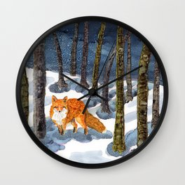 Winter Fox - Alcohol Ink Wall Clock