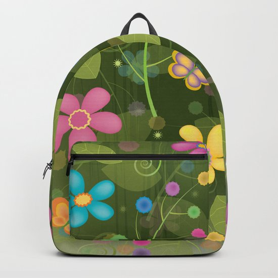 Floral and Butterfly Pattern - Summer Blooms Backpack