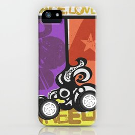 Peace, Love & Pop a Wheelie! (I) iPhone Case