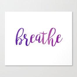 Breathe Quote - Purple Canvas Print