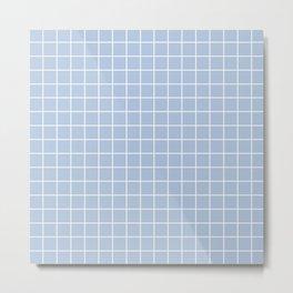 Light steel blue - heavenly color - White Lines Grid Pattern Metal Print
