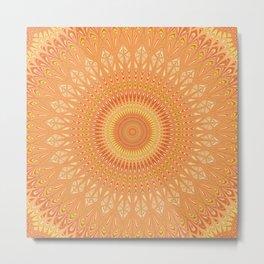 Orange mandala Metal Print