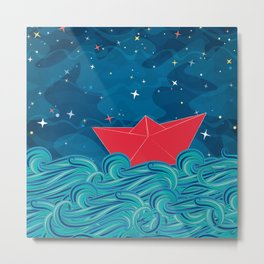 Starry night for a paper boat Metal Print