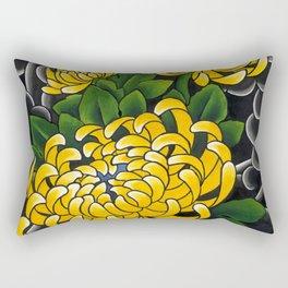 Japanese tattoo style sumi ink wash and watercolor chrysanthemum   Rectangular Pillow