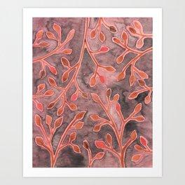 Coral Leaves Art Print