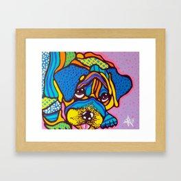 Bashful Dog Puppy Design Kids Fun Colorful Pug Bulldog Boxer Framed Art Print
