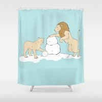 lions Shower Curtains featuring Snow Lions by Alrkeaton