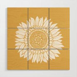 Yellow Sunflower Drawing Wood Wall Art