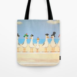 Seagulls with Hats Tote Bag