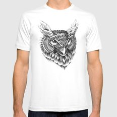 Ornate Owl Head LARGE White Mens Fitted Tee