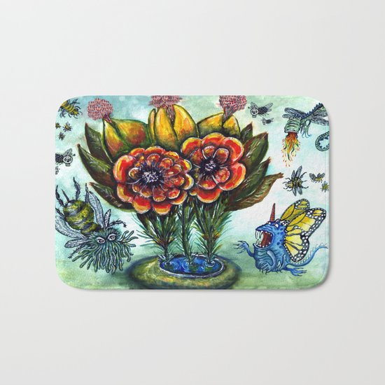 Surreal watercolor flowers and bugs Bath Mat