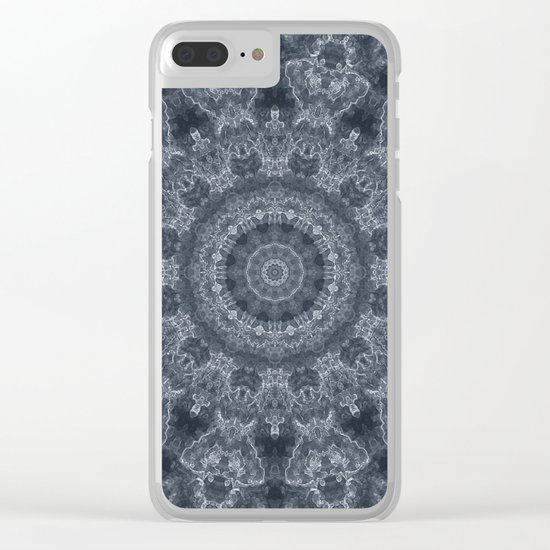 Gray - blue marble kaleidoscope, ornament elements print Clear iPhone Case