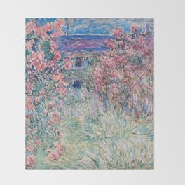 The House among the Roses by Claude Monet Throw Blanket