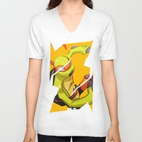 mike wrobel V-neck T-shirts featuring Mike TMNT by zeoarts