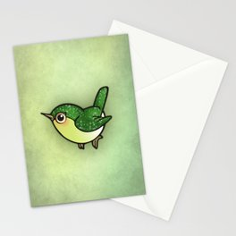 Cute Green Bird Stationery Cards