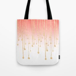 Color block coral faux gold glitter waterdrops ombre Tote Bag
