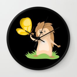 Hedgehog and Butterfly   Cute Animals Wall Clock