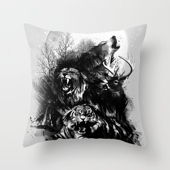 Call of the Wild (GRAY) Throw Pillow