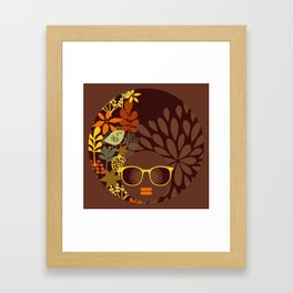 Afro Diva : Sophisticated Lady Retro Brown Framed Art Print