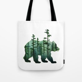 Bear and Forest Tote Bag
