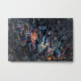 Colorful Times Square Aerial View - New York City Landscape Painting by Jeanpaul Ferro Metal Print