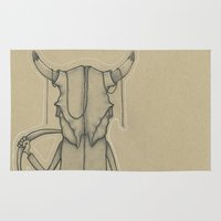 animal skull Area & Throw Rugs featuring Bull Skull Guy Spirit Animal by Drawn by Lex