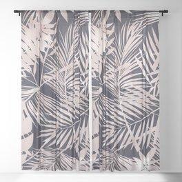 Metallic Blush Leaf Pattern Sheer Curtain