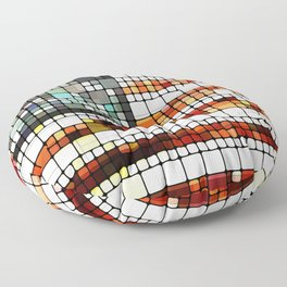 Retro Abstract American Flag Floor Pillow