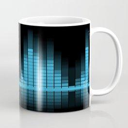 Cool Blue Graphic Equalizer Music on black Coffee Mug