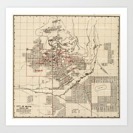 Vintage Map of Butte Montana (1909) Art Print
