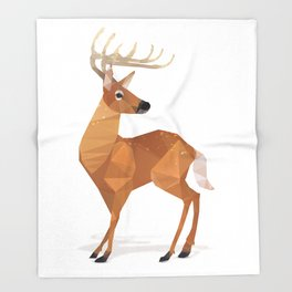 Low Poly White-tailed Deer Throw Blanket