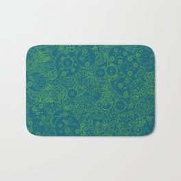 Clockwork Turquoise & Lime / Cogs and clockwork parts lineart pattern Bath Mat