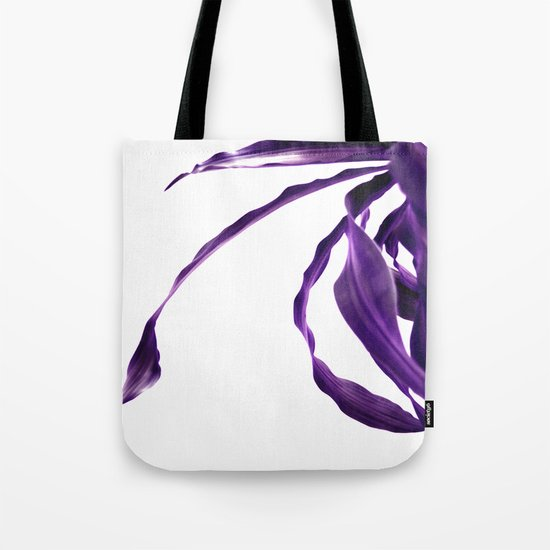 Purple tropical leaves. Tote Bag