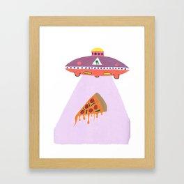 Pizza Alien Framed Art Print