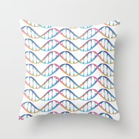 dna Throw Pillows featuring DNA by FACTORIE